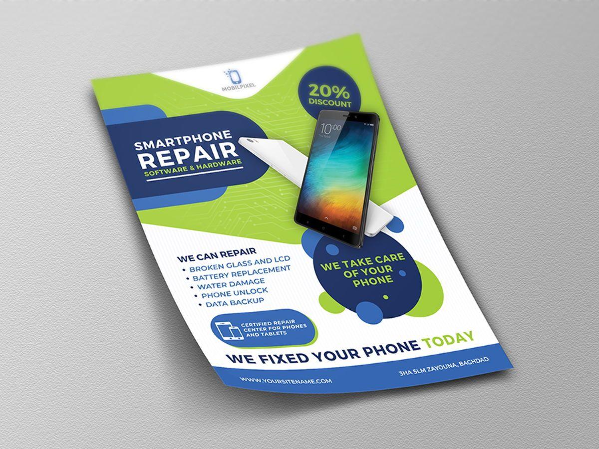 Smartphone Repair Service Flyer Template, Slide 4, 08496, Telecommunication — PoweredTemplate.com