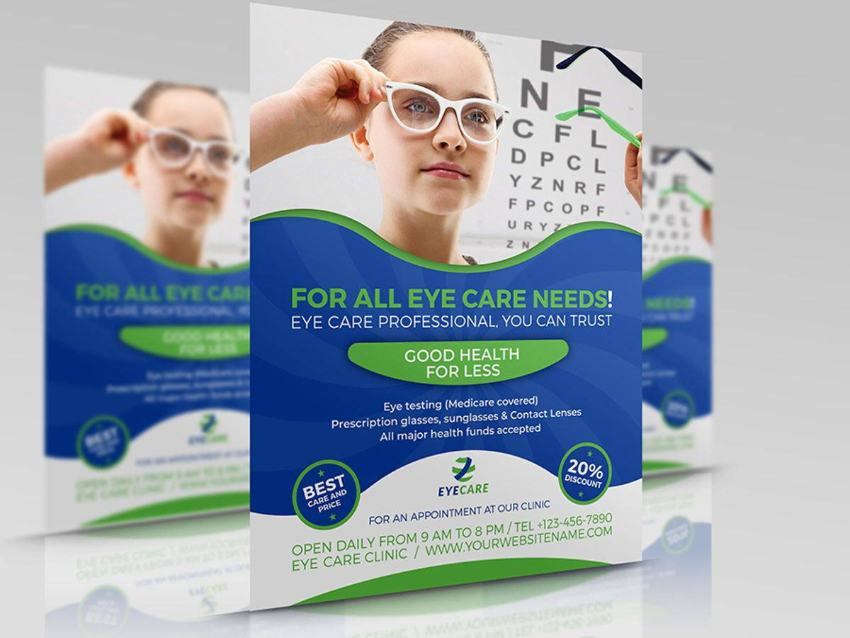 Optometrist Optician Flyer Template, 08497, Medical — PoweredTemplate.com