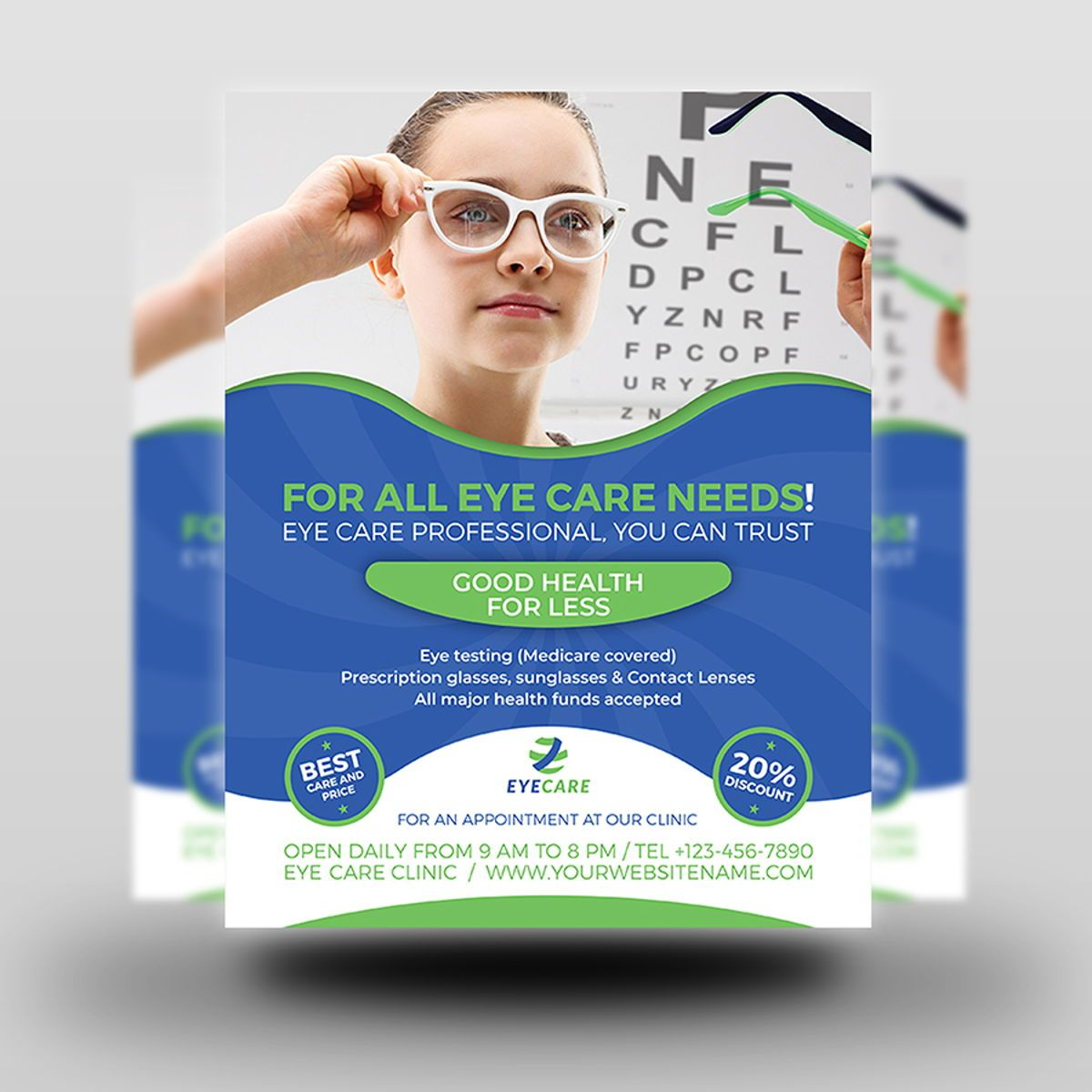 Optometrist Optician Flyer Template, Slide 2, 08497, Medical — PoweredTemplate.com