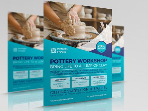 Art & Entertainment: Pottery Workshop Flyer Template #08498