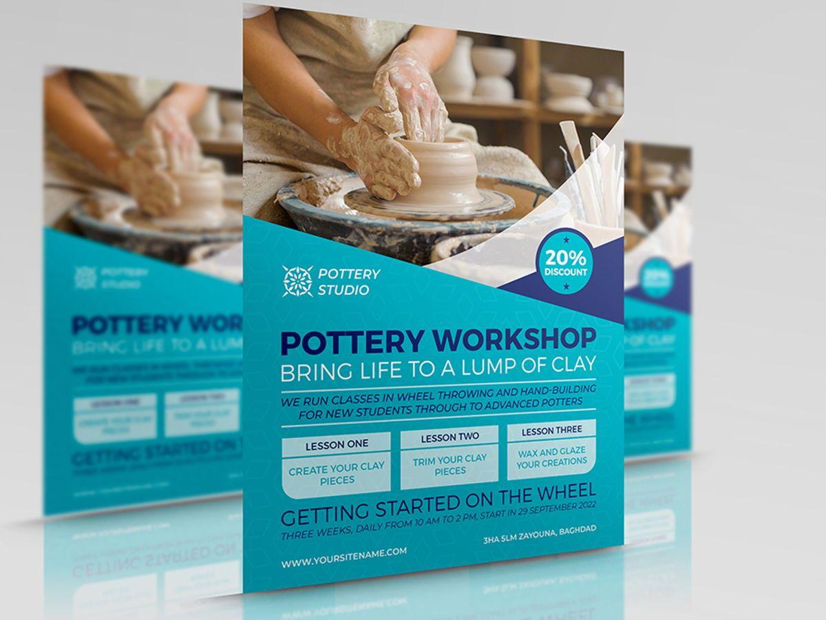 Pottery Workshop Flyer Template, 08498, Art & Entertainment — PoweredTemplate.com