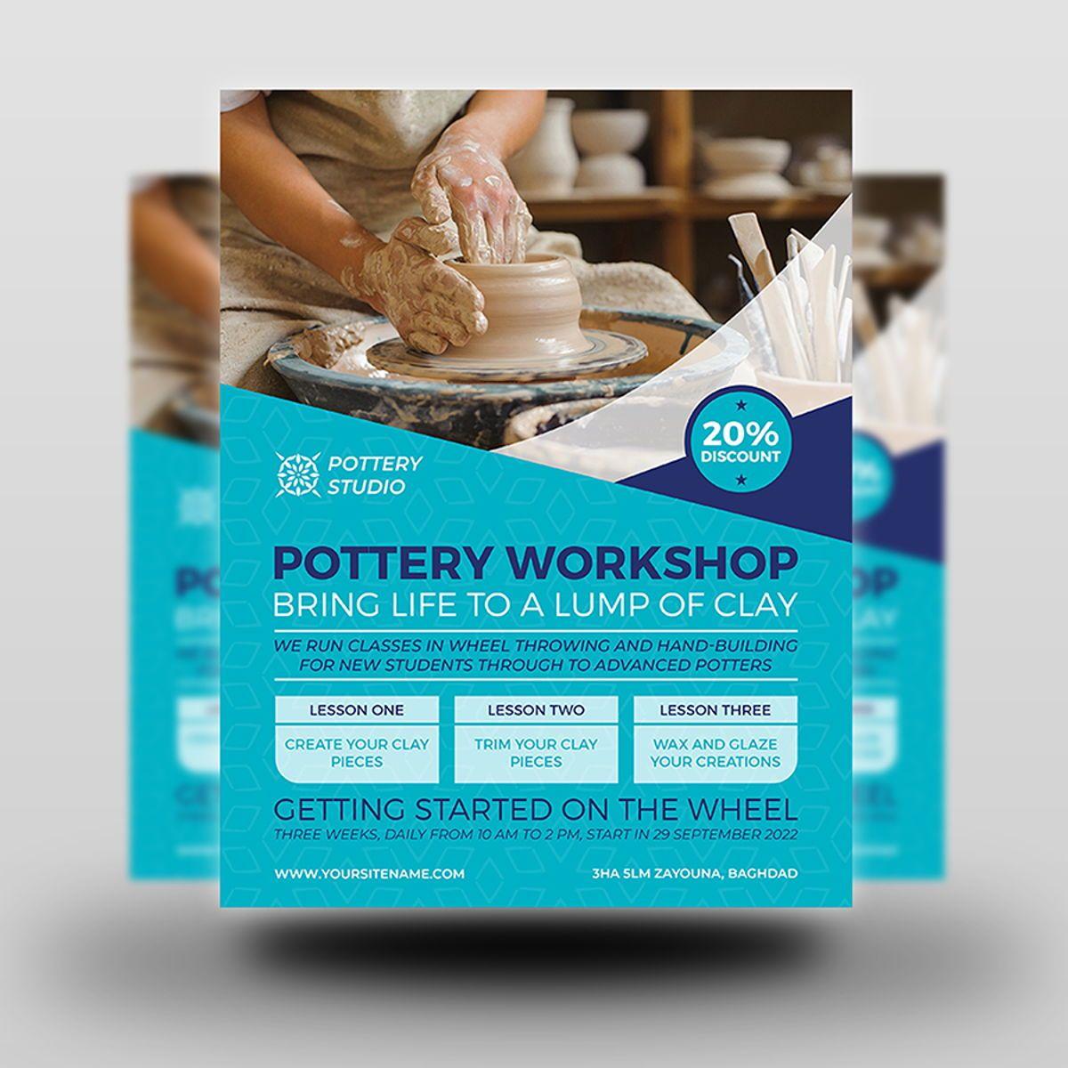 Pottery Workshop Flyer Template, Slide 2, 08498, Art & Entertainment — PoweredTemplate.com