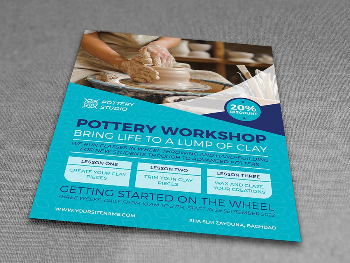 Pottery Workshop Flyer Template, Slide 3, 08498, Art & Entertainment — PoweredTemplate.com