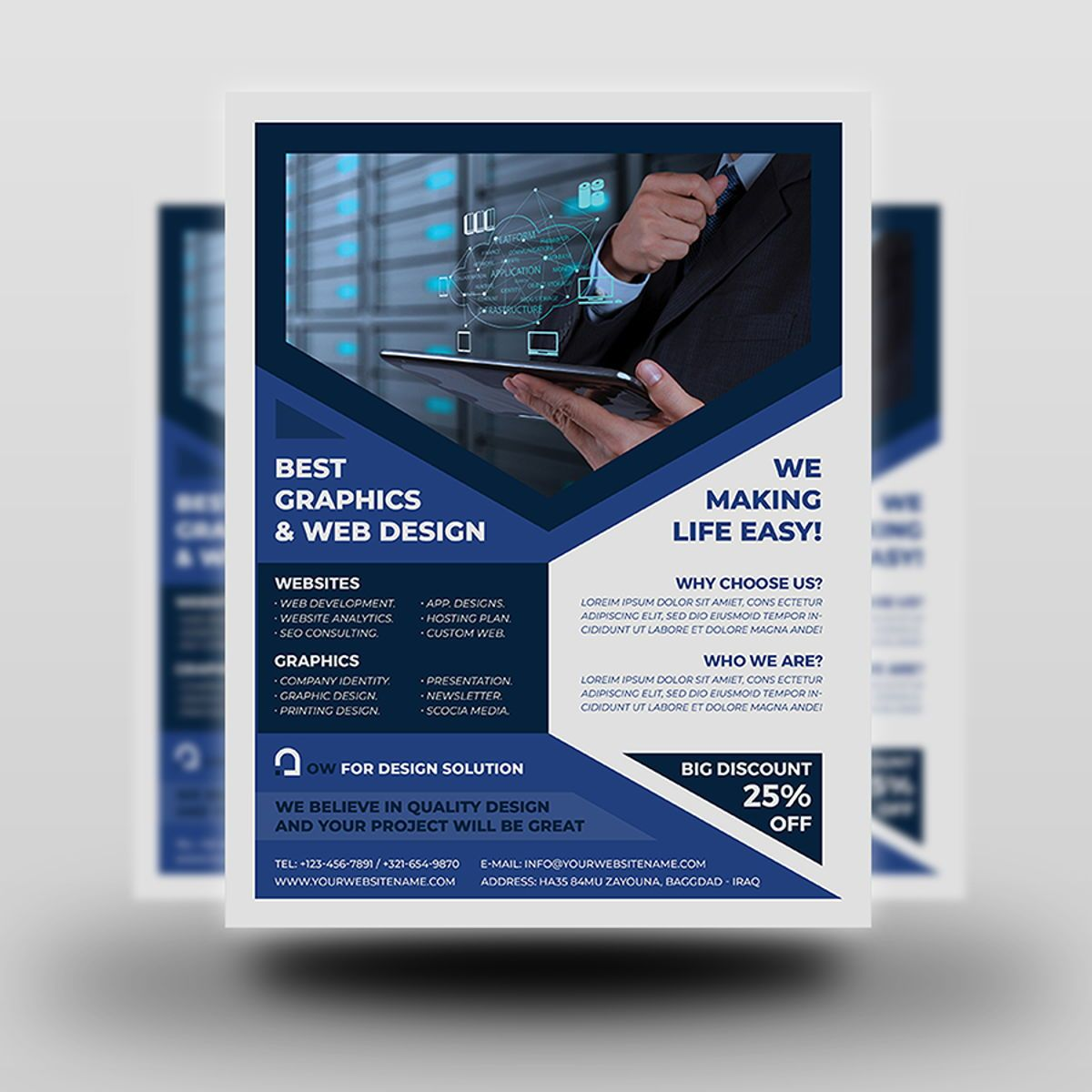 Graphics and Web Design Flyer Template, Diapositive 2, 08500, Technology, Science & Computers — PoweredTemplate.com