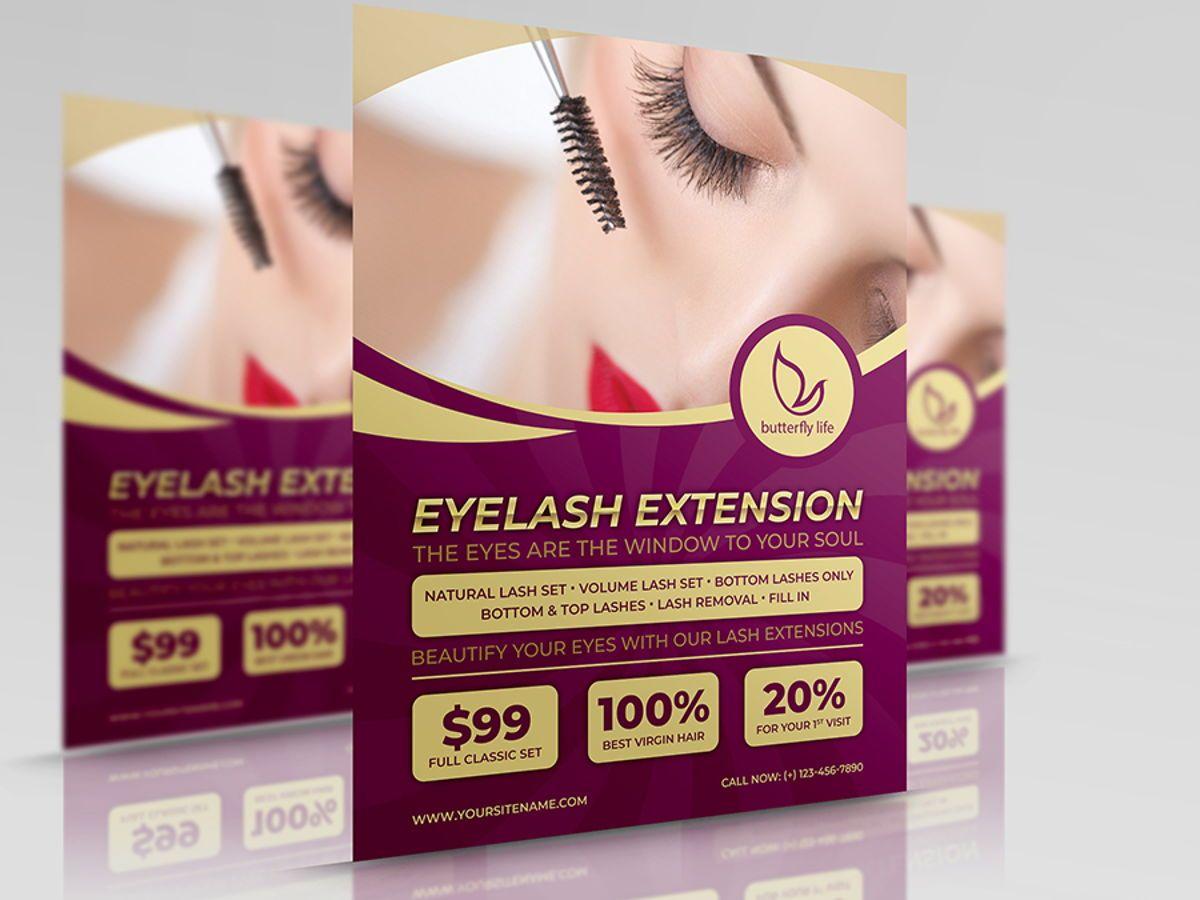 Eyelash Extension Flyer Template, 08501, General — PoweredTemplate.com