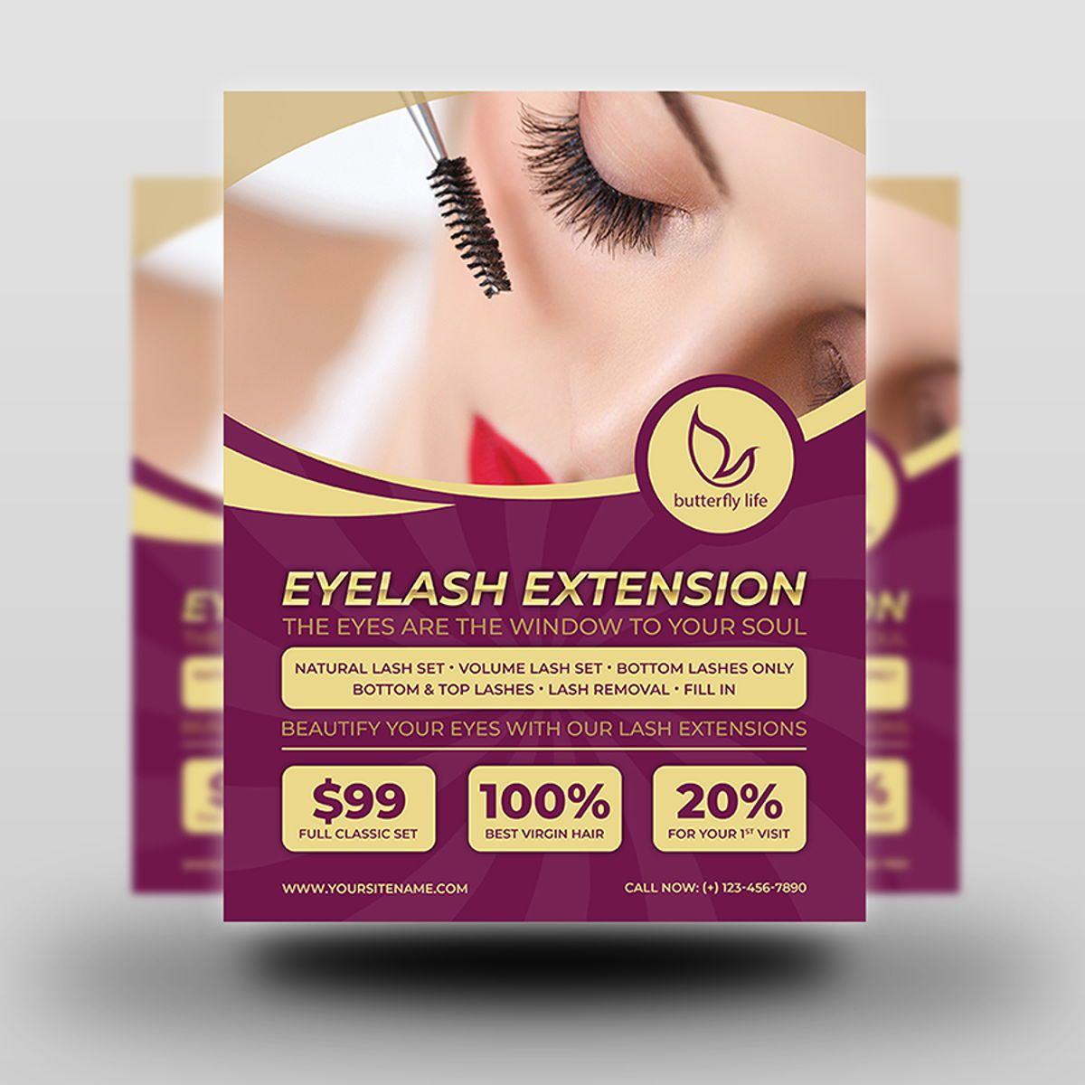 Eyelash Extension Flyer Template, Slide 2, 08501, General — PoweredTemplate.com