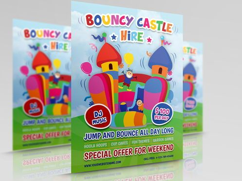 Holiday/Special Occasion: Bouncy Castle Hire Flyer Template #08502