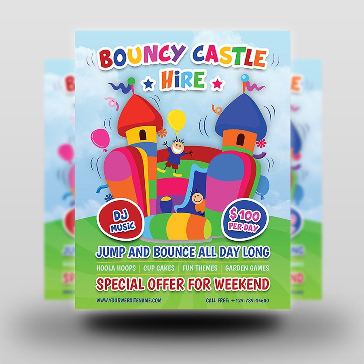 Bouncy Castle Hire Flyer Template, Diapositive 2, 08502, Fêtes / Grandes occasions — PoweredTemplate.com