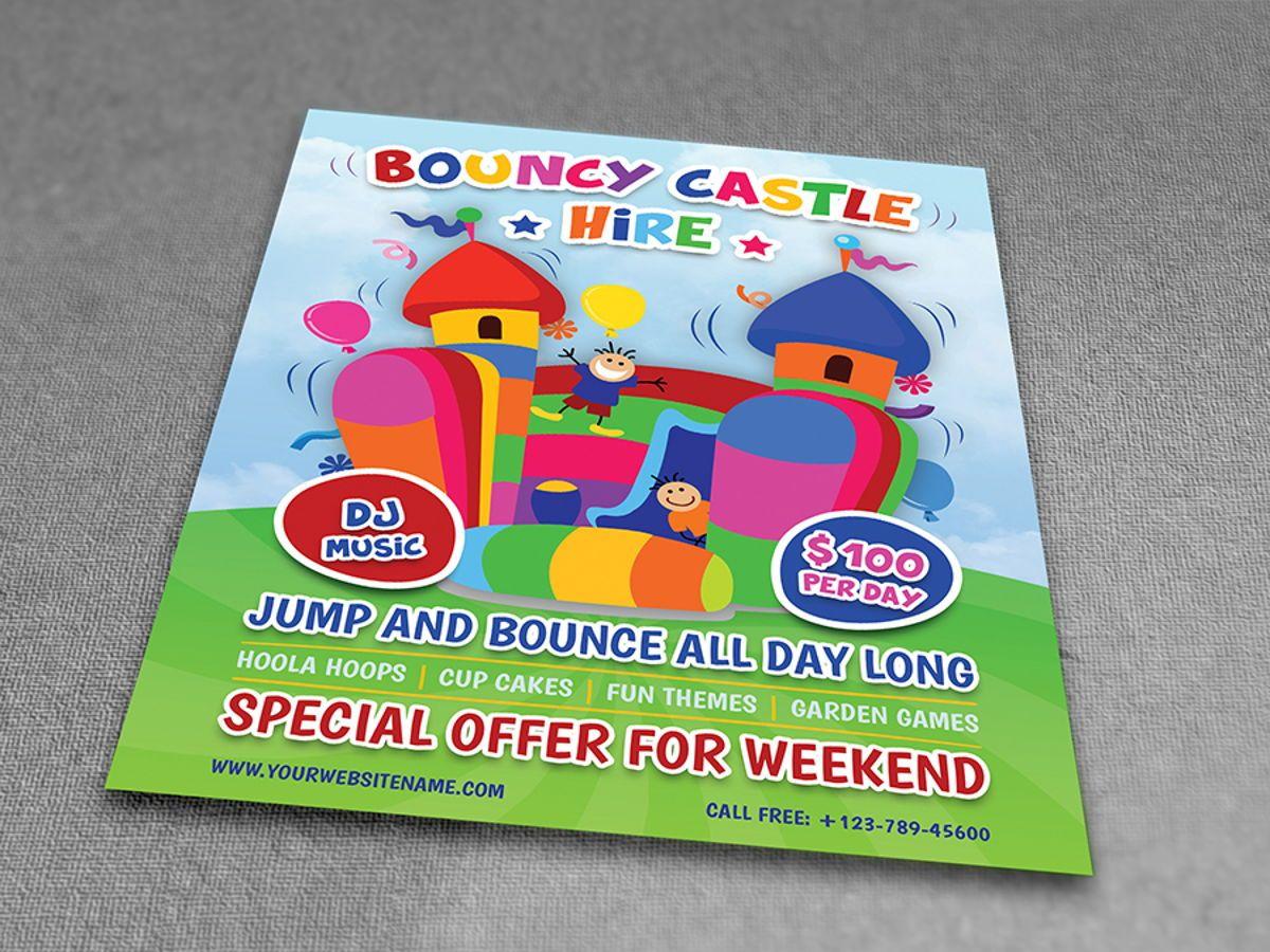 Bouncy Castle Hire Flyer Template, Diapositive 3, 08502, Fêtes / Grandes occasions — PoweredTemplate.com
