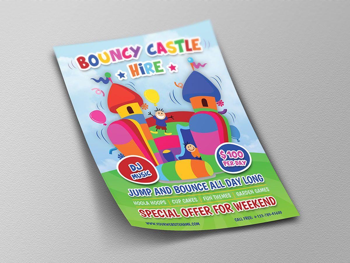 Bouncy Castle Hire Flyer Template, Diapositive 4, 08502, Fêtes / Grandes occasions — PoweredTemplate.com