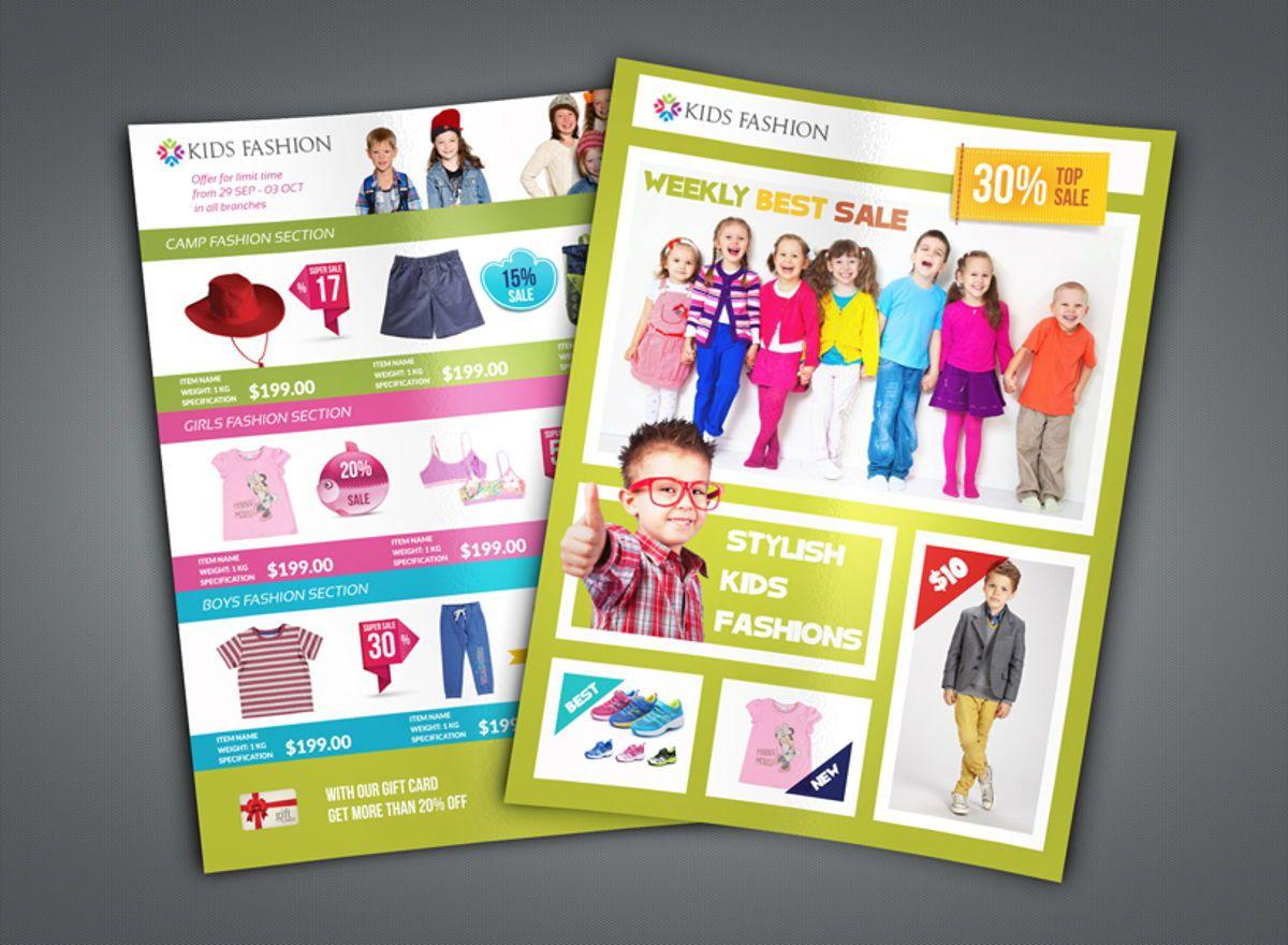 Kids Fashion Catalog Flyer Template, 08503, Général — PoweredTemplate.com