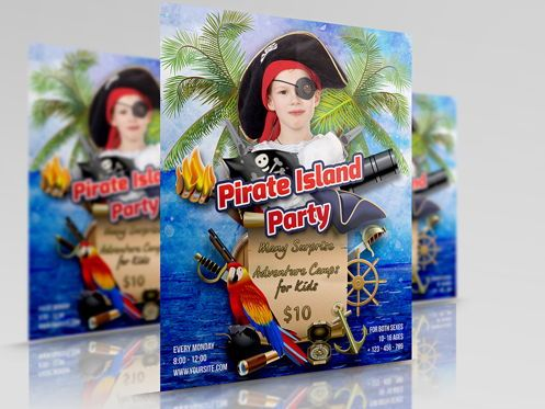 Holiday/Special Occasion: Pirate Island Party Flyer Template #08505