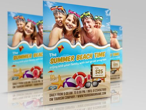 Holiday/Special Occasion: Summer Beach Flyer Template #08506