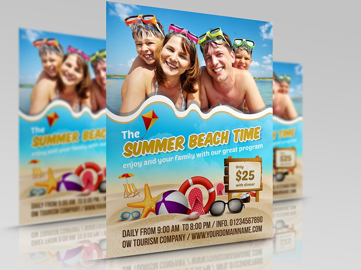 Summer Beach Flyer Template, 08506, Holiday/Special Occasion — PoweredTemplate.com
