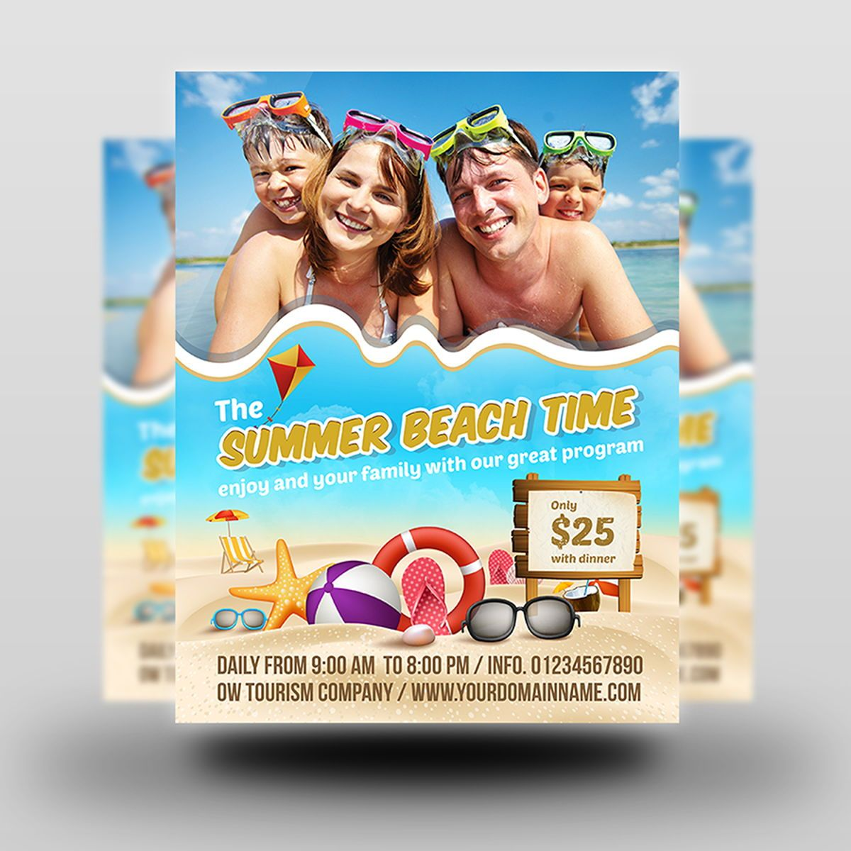 Summer Beach Flyer Template, Slide 2, 08506, Holiday/Special Occasion — PoweredTemplate.com