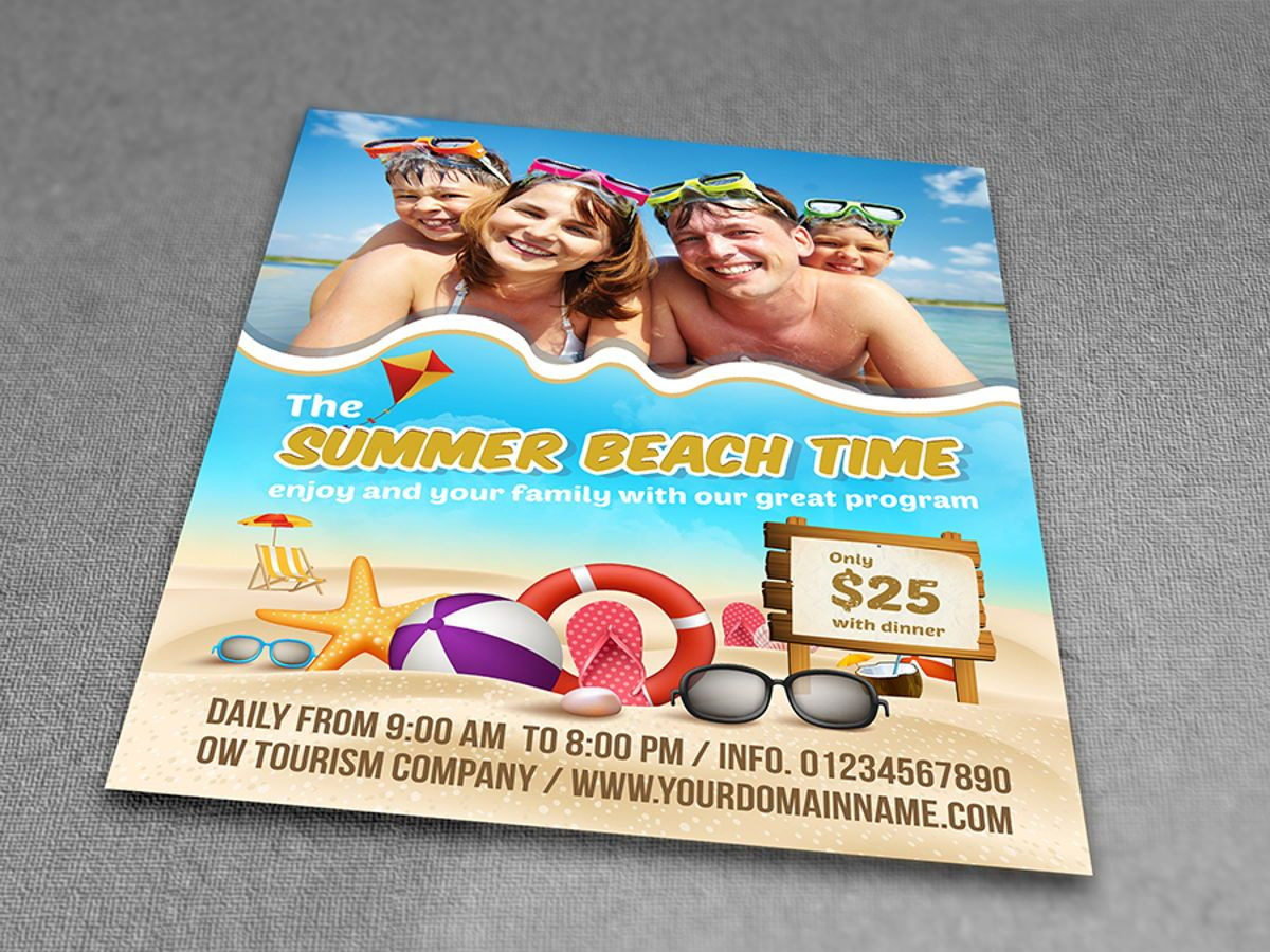 Summer Beach Flyer Template, Slide 3, 08506, Holiday/Special Occasion — PoweredTemplate.com