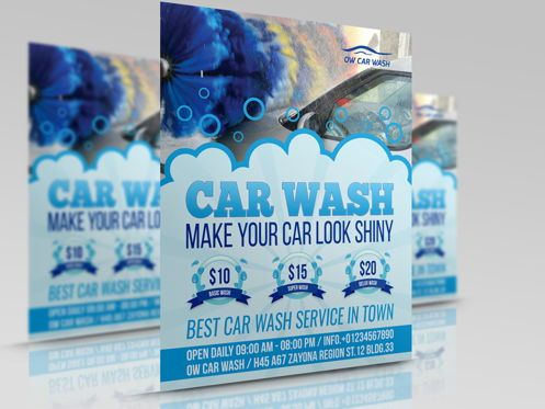 Cars/Transportation: Car Wash Flyer Template #08507