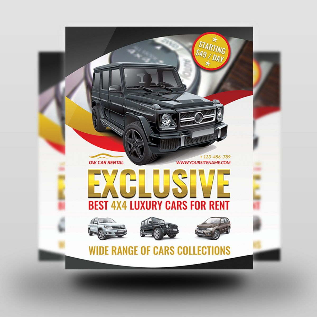 Rent a Car Flyer Template, Slide 2, 08508, Cars/Transportation — PoweredTemplate.com