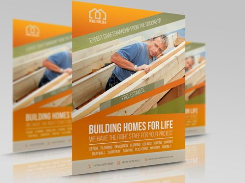 Construction: Home Building Carpentry Flyer Template #08509