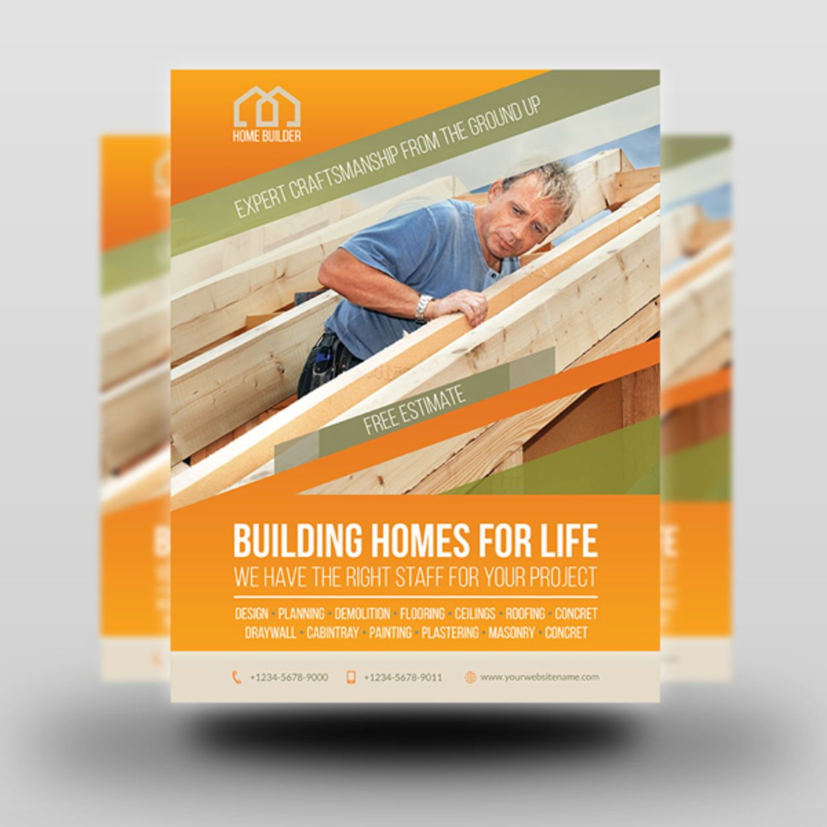 Home Building Carpentry Flyer Template, Slide 2, 08509, Construction — PoweredTemplate.com