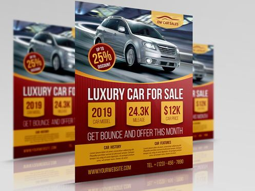 Cars/Transportation: Car for Sale Flyer Template #08510