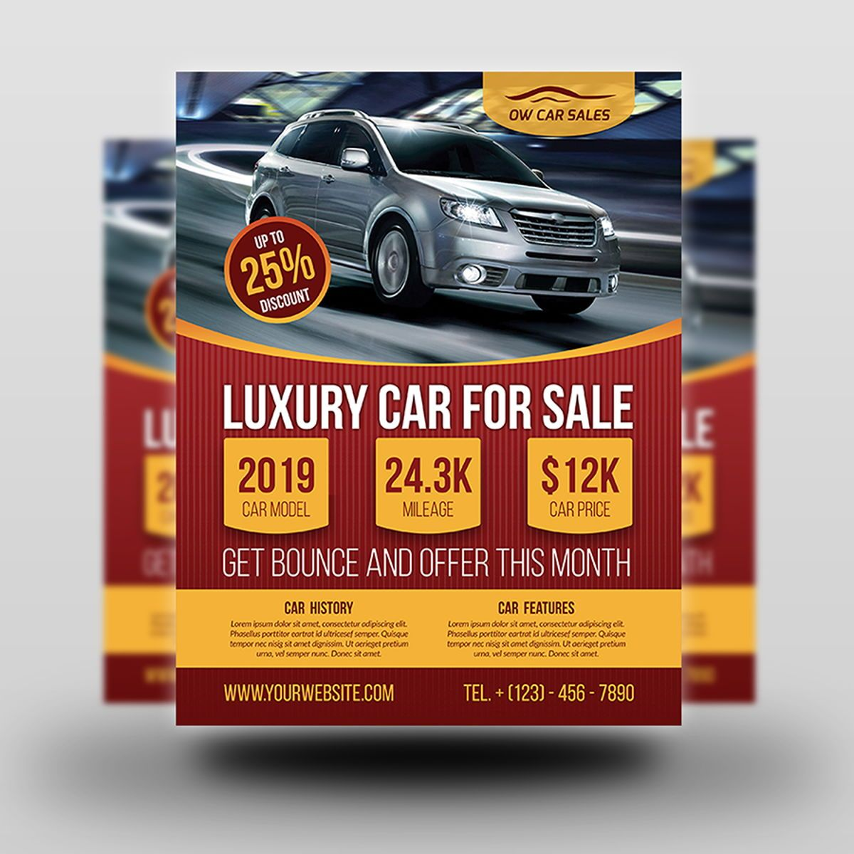 Car for Sale Flyer Template, Slide 2, 08510, Cars/Transportation — PoweredTemplate.com