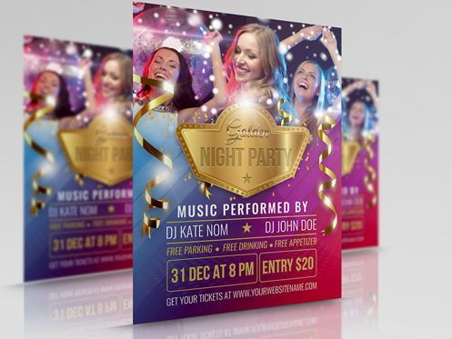 Holiday/Special Occasion: Golden Party Flyer Template #08511