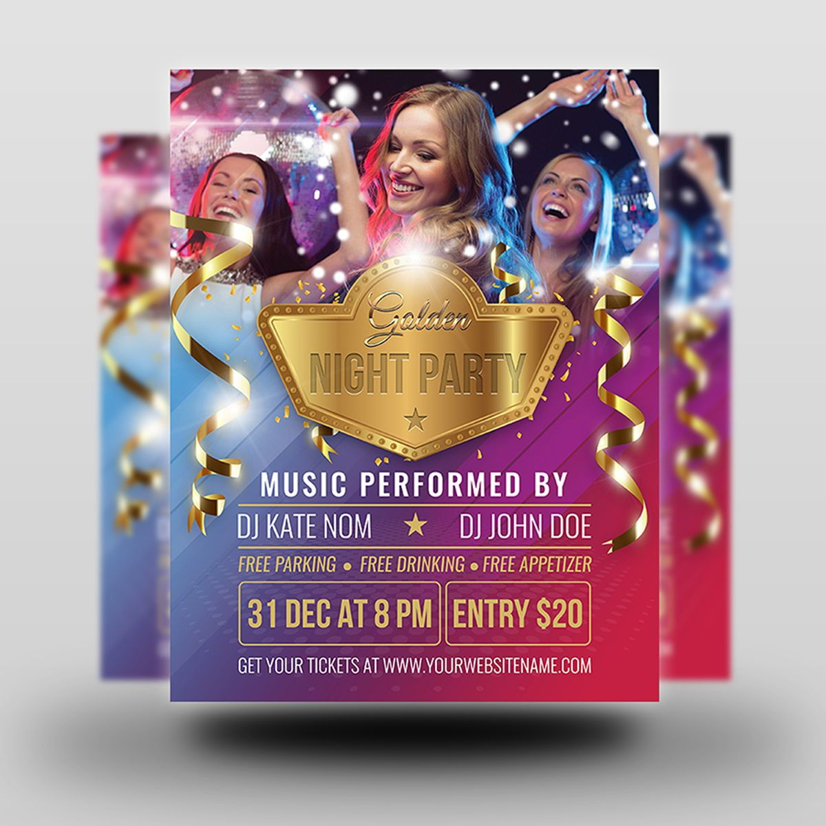 Golden Party Flyer Template, Slide 2, 08511, Holiday/Special Occasion — PoweredTemplate.com