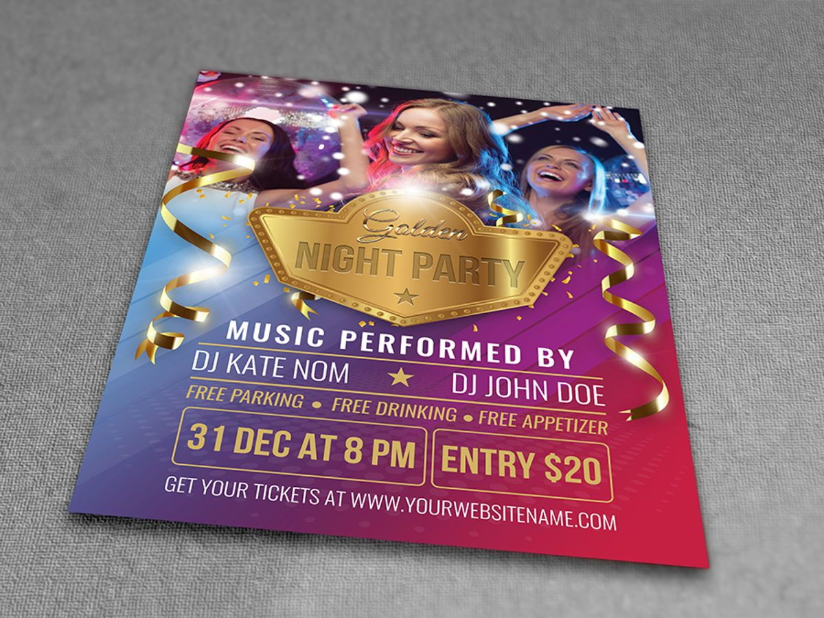 Golden Party Flyer Template, Slide 3, 08511, Holiday/Special Occasion — PoweredTemplate.com