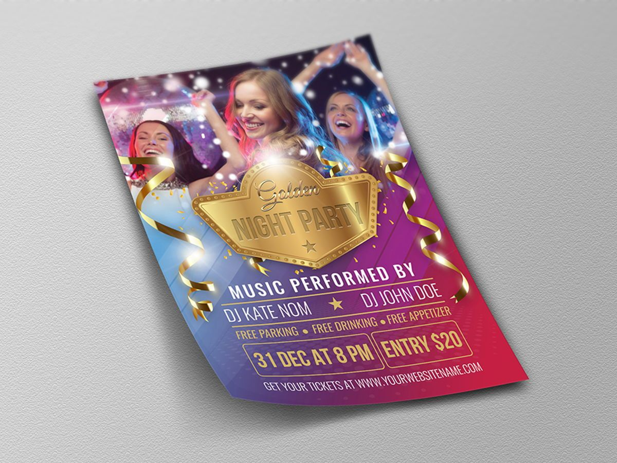Golden Party Flyer Template, Slide 4, 08511, Holiday/Special Occasion — PoweredTemplate.com
