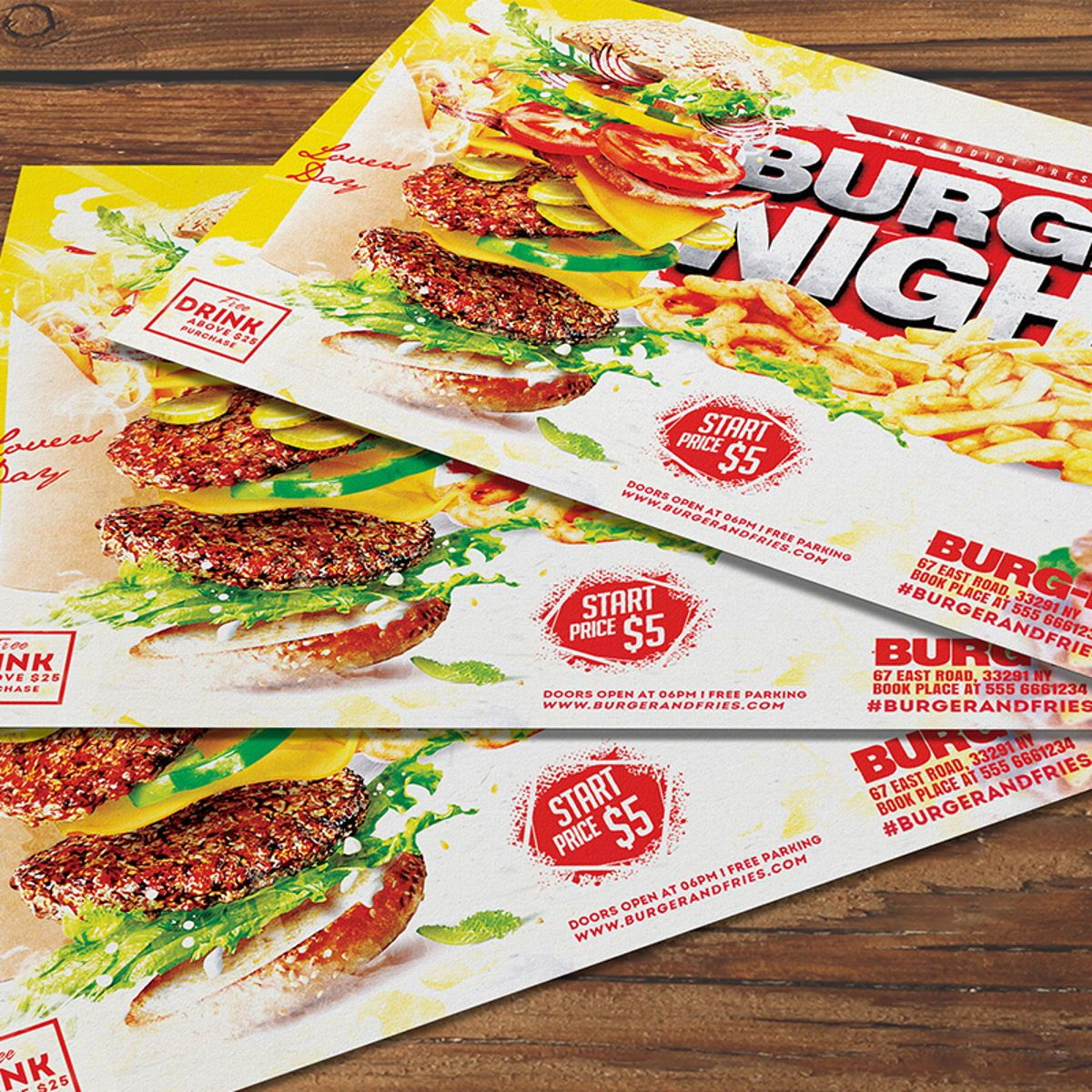 Burger Flyer Template, 08515, Food & Beverage — PoweredTemplate.com