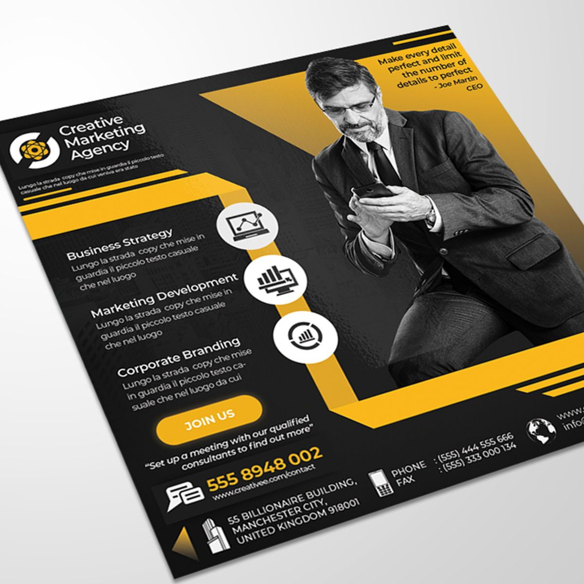 Creative Agency Flyer Template, Diapositive 2, 08522, Business — PoweredTemplate.com