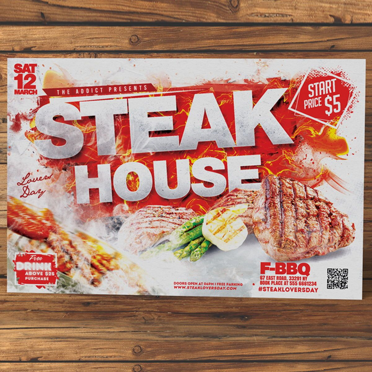 Steak House Flyer Template, Slide 2, 08525, Food & Beverage — PoweredTemplate.com