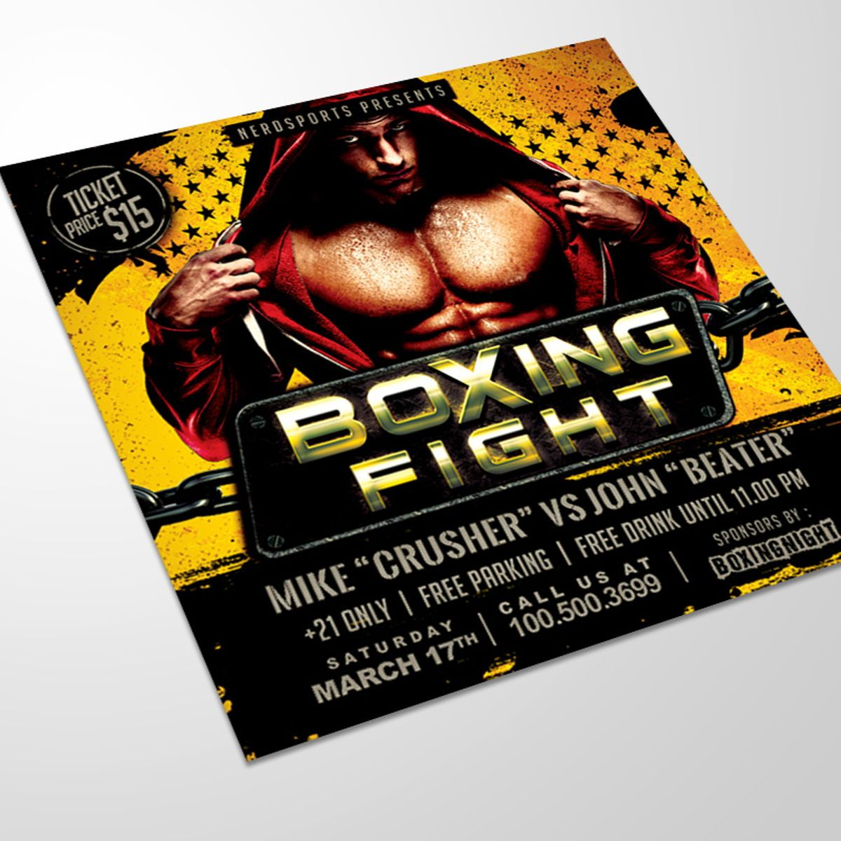 Boxing Fight Championships Flyer Template, 08531, Sports — PoweredTemplate.com