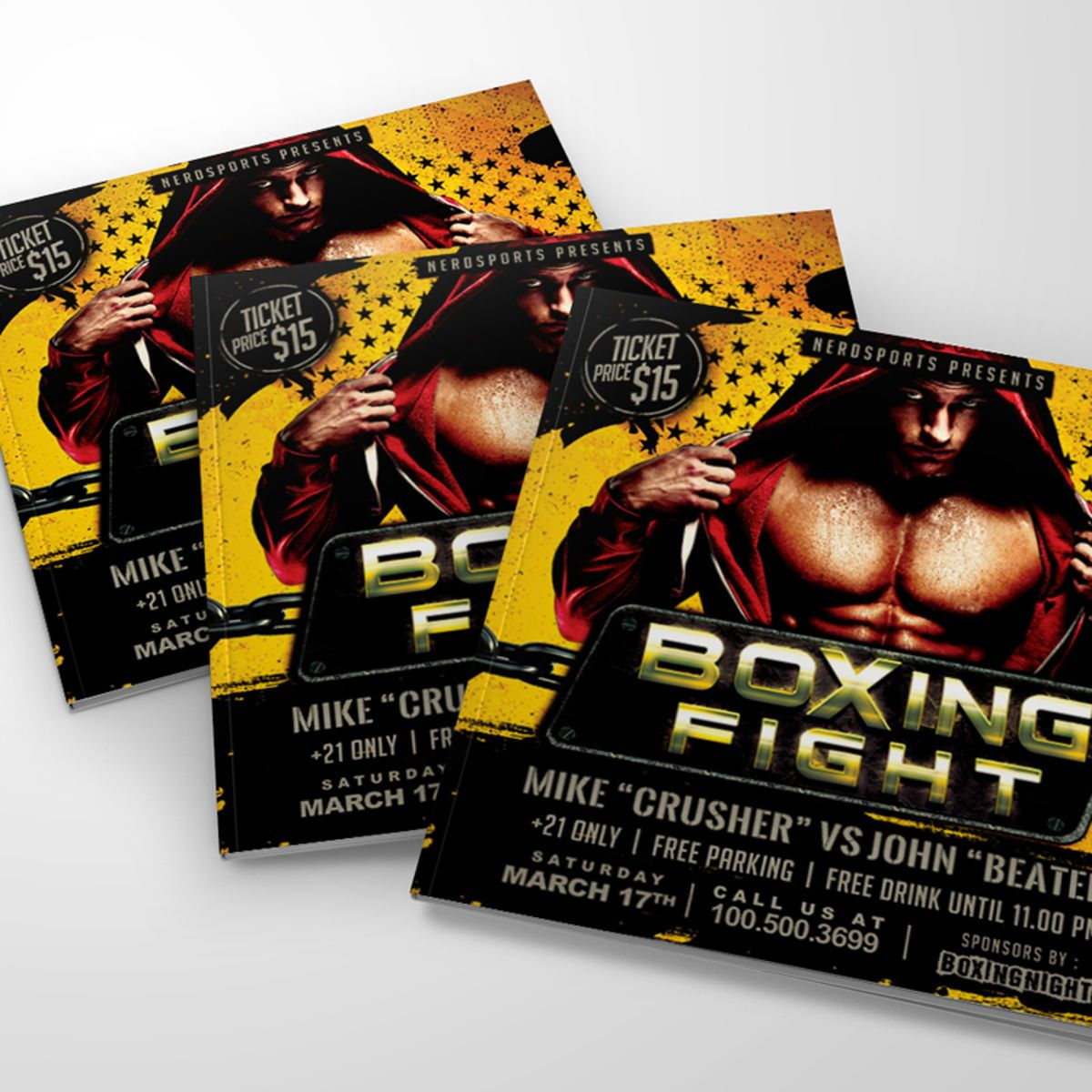Boxing Fight Championships Flyer Template, Slide 2, 08531, Sports — PoweredTemplate.com