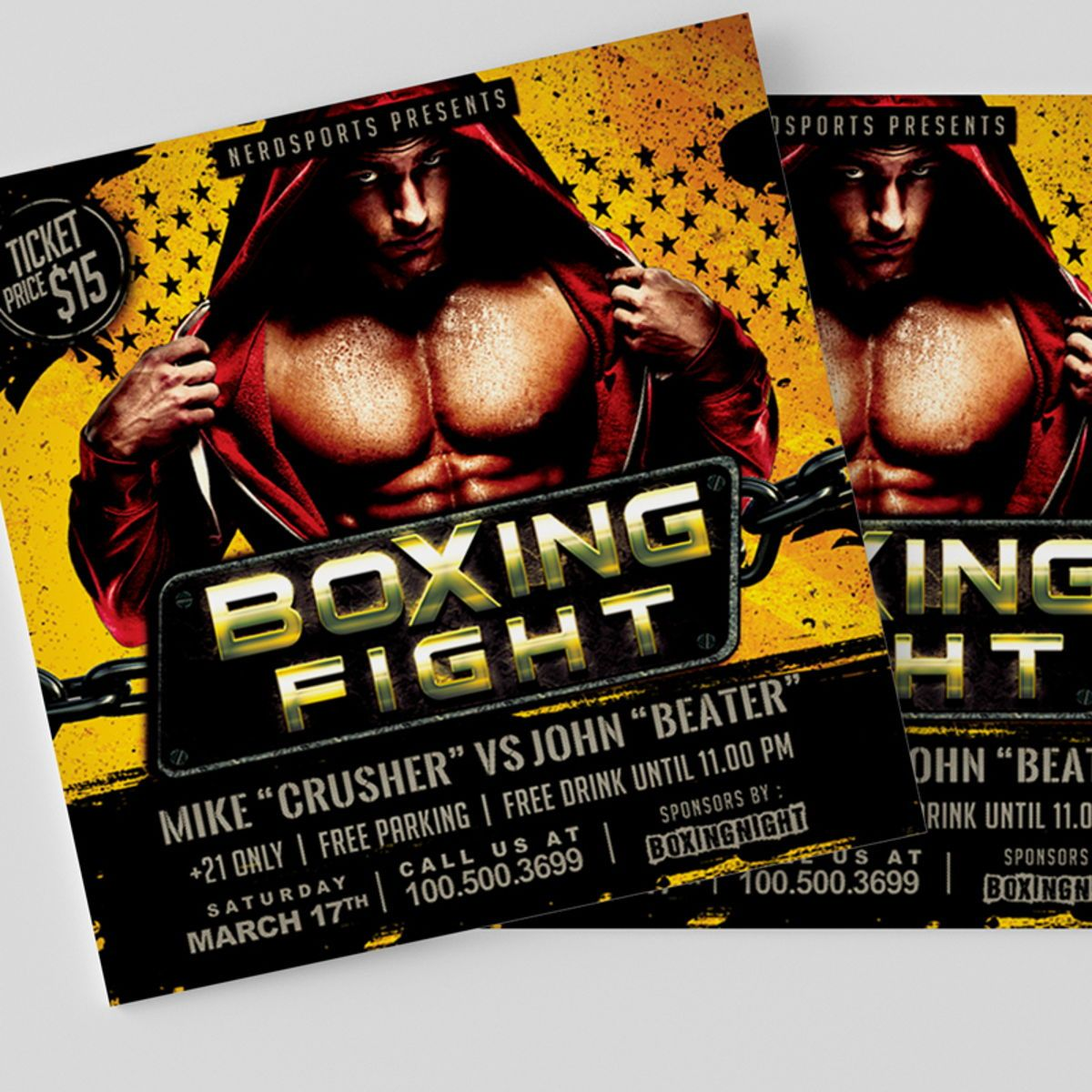 Boxing Fight Championships Flyer Template, Slide 3, 08531, Sports — PoweredTemplate.com