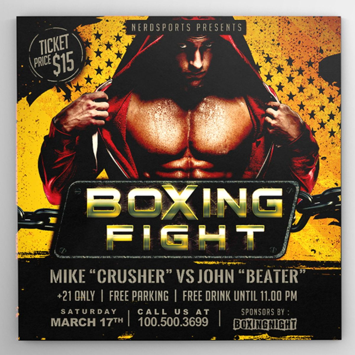 Boxing Fight Championships Flyer Template, Slide 4, 08531, Sports — PoweredTemplate.com