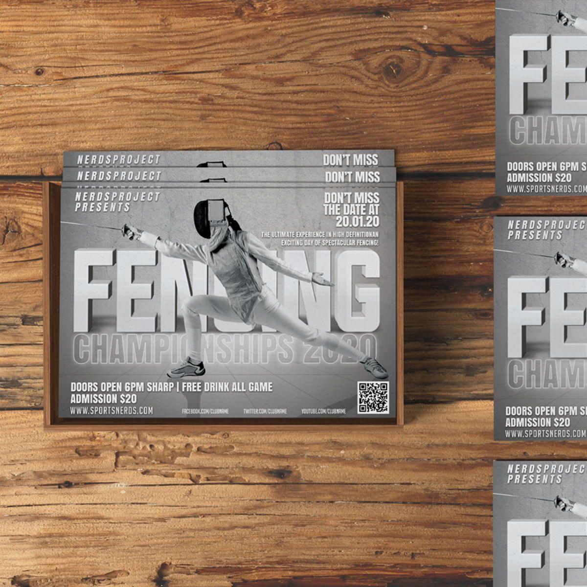 Fencing Flyer Template, 08534, Sports — PoweredTemplate.com