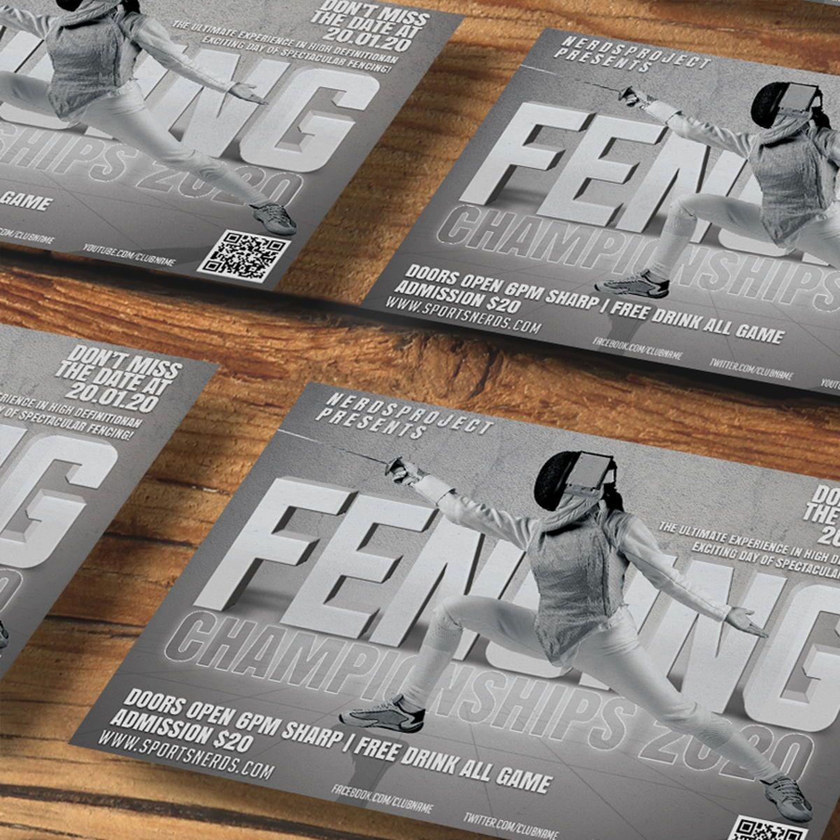 Fencing Flyer Template, Slide 2, 08534, Sports — PoweredTemplate.com