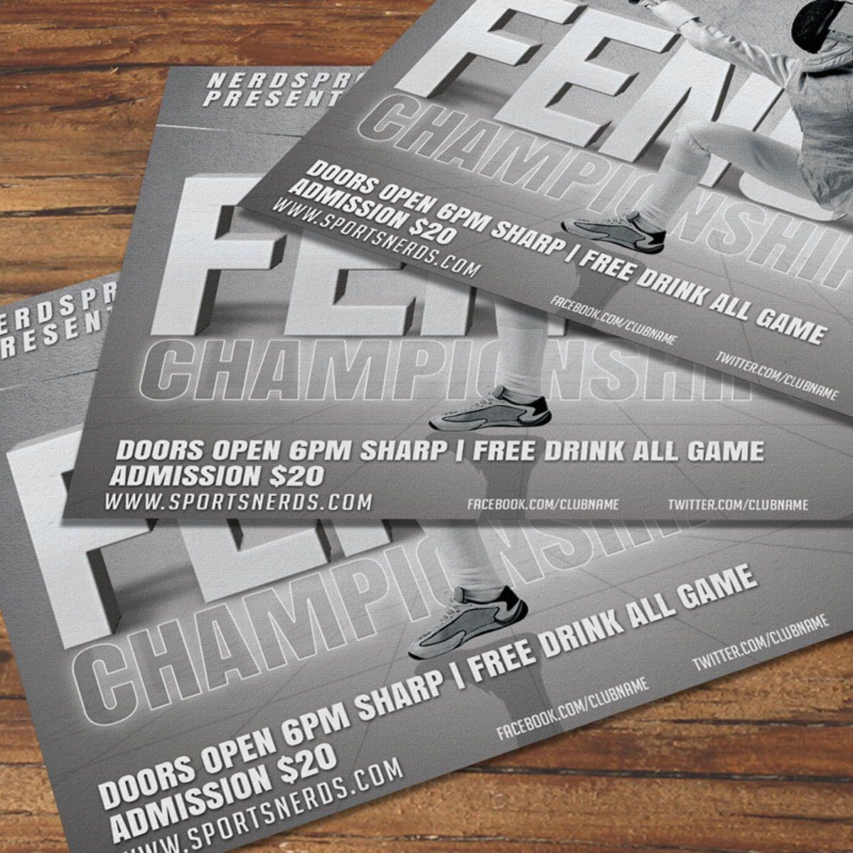 Fencing Flyer Template, Slide 3, 08534, Sports — PoweredTemplate.com