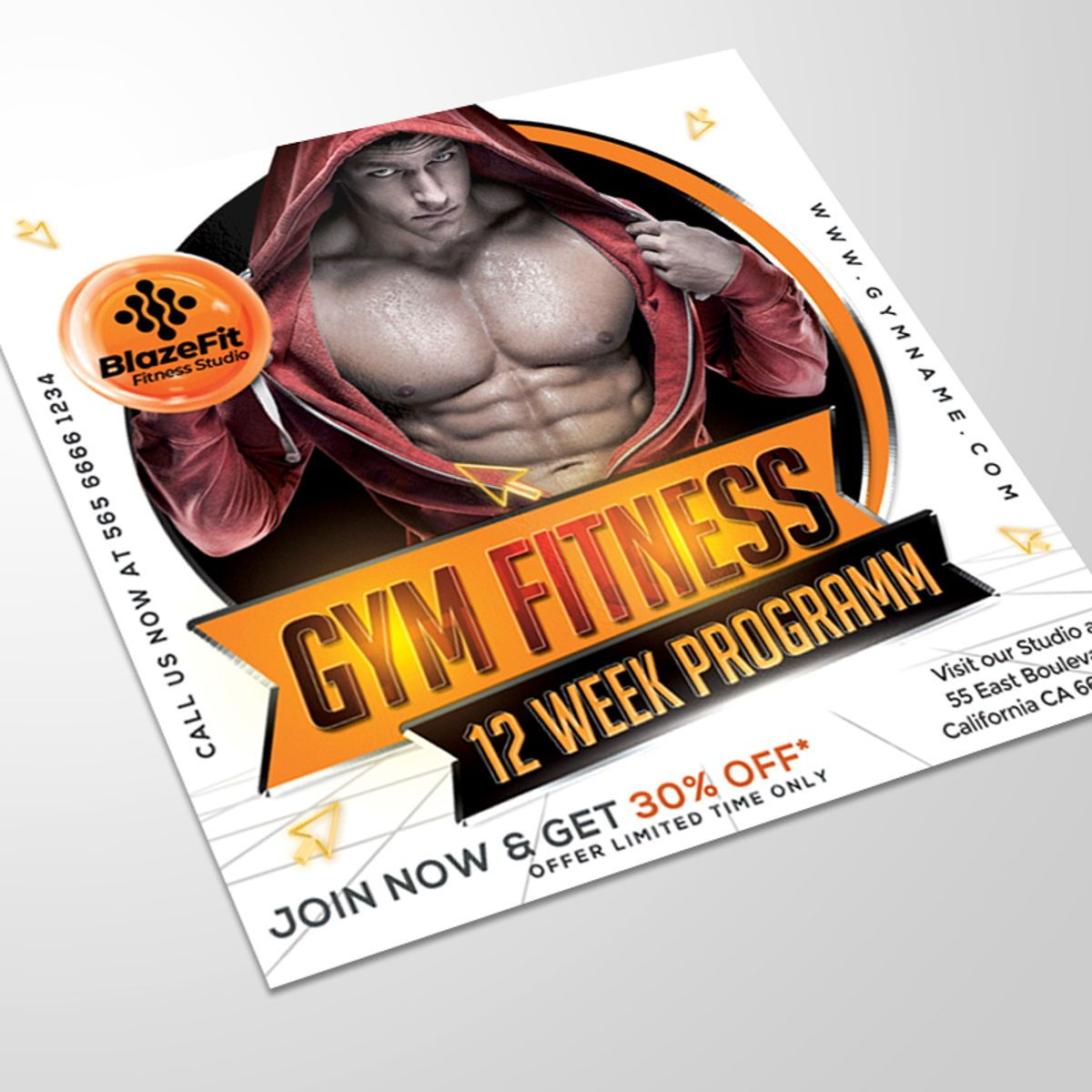 Gym Fitness Flyer Template, Slide 2, 08538, Sports — PoweredTemplate.com