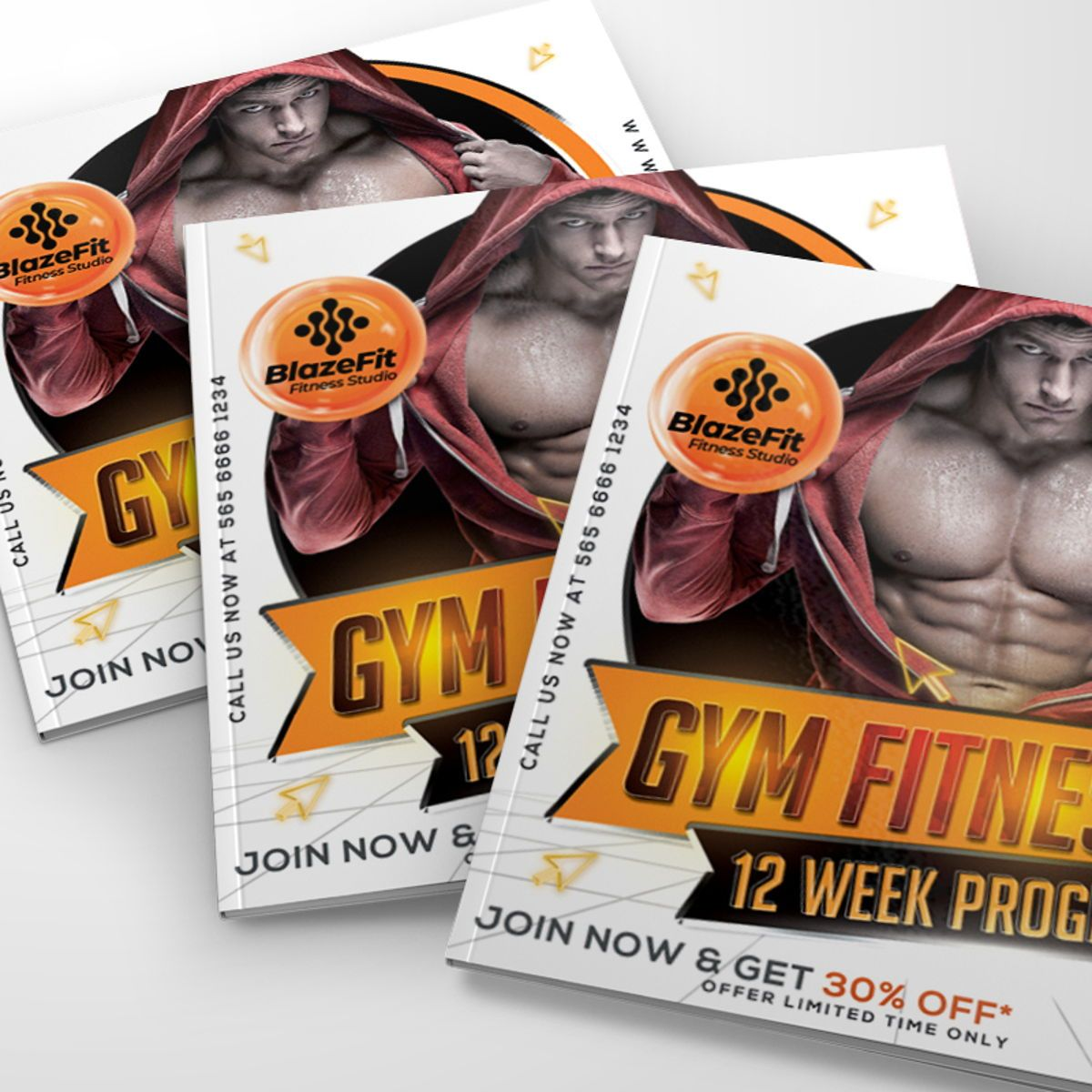 Gym Fitness Flyer Template, Slide 3, 08538, Sports — PoweredTemplate.com