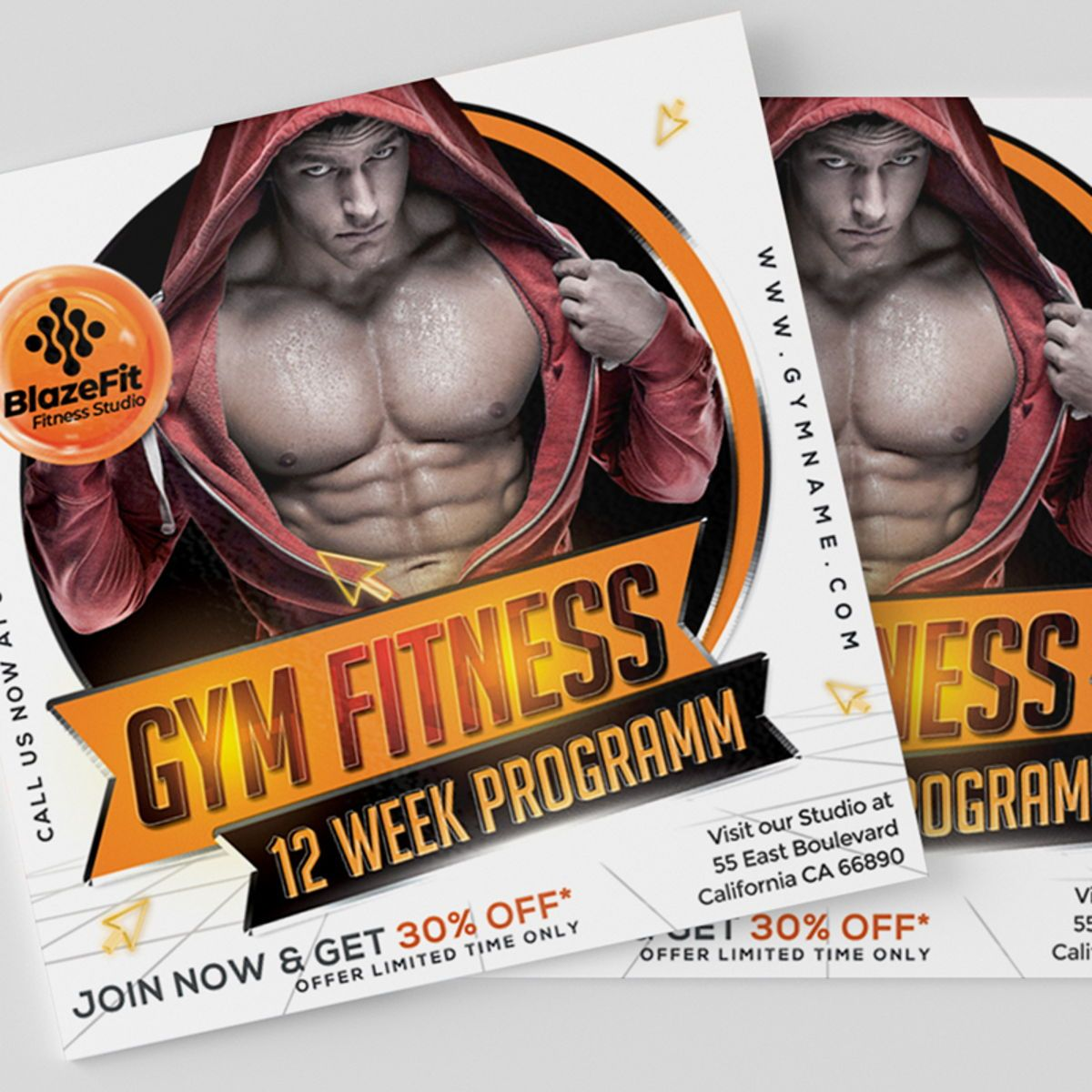 Gym Fitness Flyer Template, Slide 4, 08538, Sports — PoweredTemplate.com