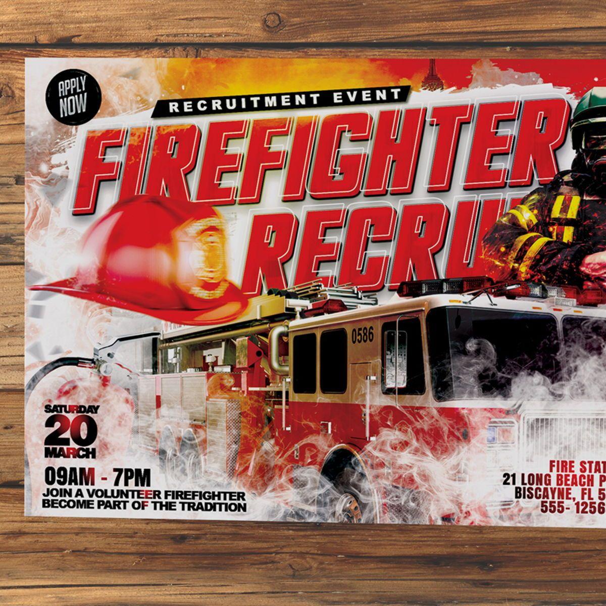Firefighter Requitment Flyer, Slide 3, 08539, General — PoweredTemplate.com