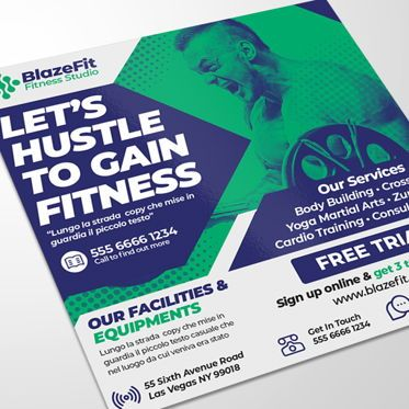 Business: Fitness Training Center Flyer Template #08546