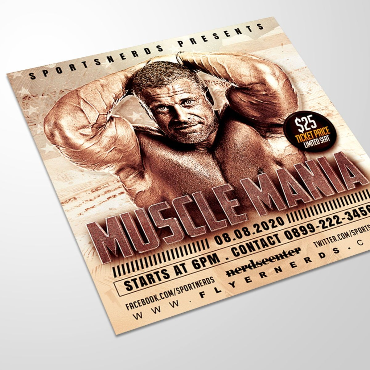 Muscle Mania Sports Flyer, 08554, Sports — PoweredTemplate.com