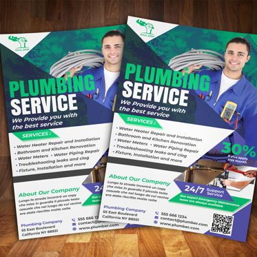 Business: Plumber Service Flyer Template #08555