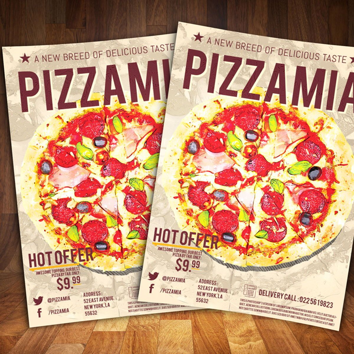 Pizzaria Fast Food Flyer Template, 08556, Food & Beverage — PoweredTemplate.com