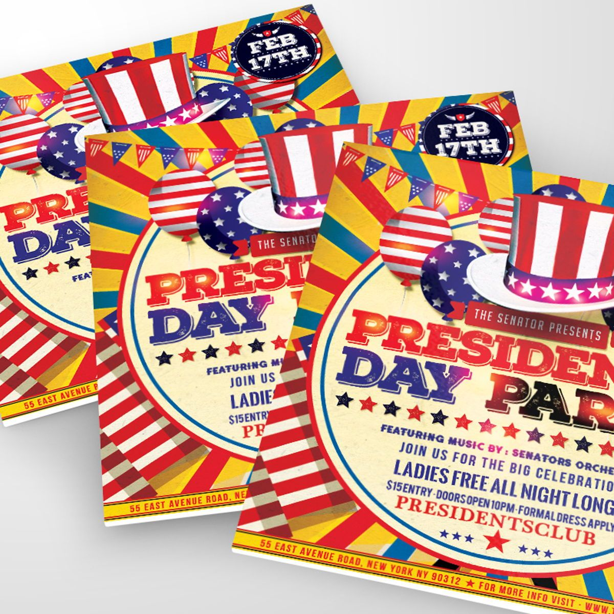 Presidents Day Flyer Template, 08557, Holiday/Special Occasion — PoweredTemplate.com