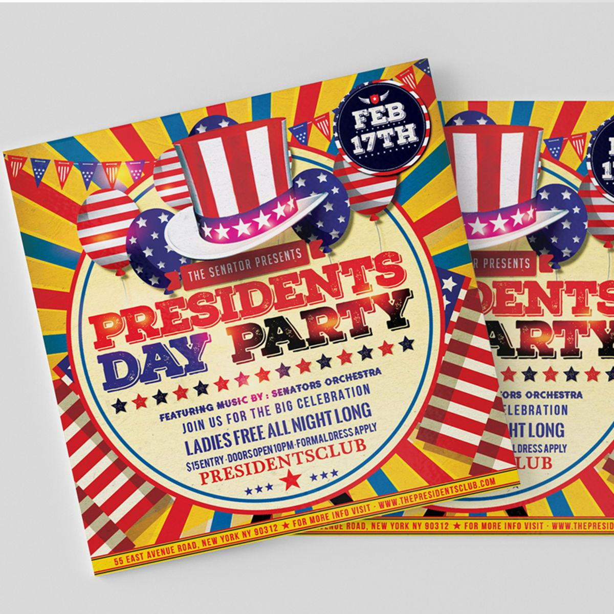 Presidents Day Flyer Template, Slide 2, 08557, Holiday/Special Occasion — PoweredTemplate.com